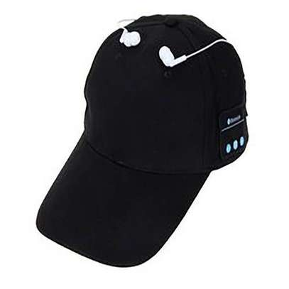 Wireless Headset Bluetooth Baseball Cap Hands-Free Sports Mic Adjustable - Black.