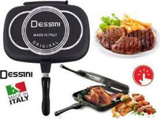 Dessini Double Pan /Meat Grill Non Stick 36cm - Black image 1