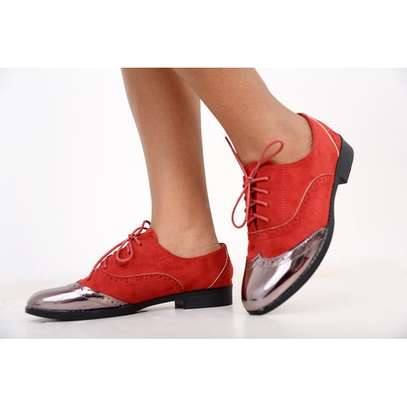 Fashion Brogues Ladies Laced Shoes Red/Silver/Black image 1