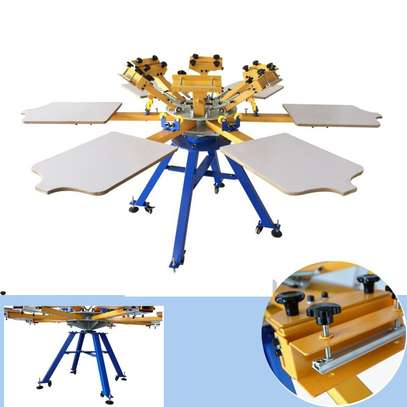 4 color 4 station carousel T-shirt screen printing machine. image 1