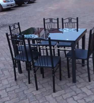 Home town dining set table with 6 chairs and flowers pattern image 1