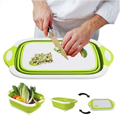 3 in 1 Collapsible Cutting Board with Colander Vegetable Fruits Cutting Board,Foldable Washing Basin, Portable Dish Washing Tub, Drain Sink Storage Basket for Home Kitchen Outdoor Camping (Green) image 1