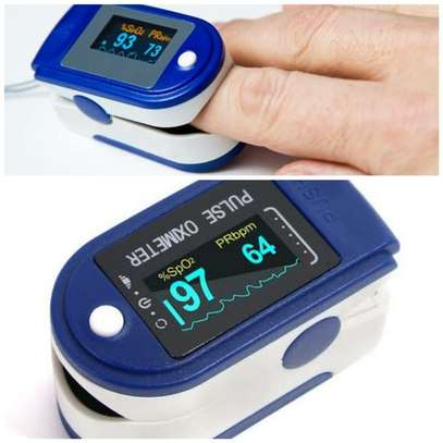 Pulse Portable Fingertip Pulse Oximeter With Batteries - Blue & White image 1