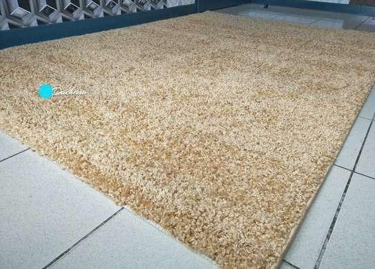 5*8 beige shaggy carpet image 1