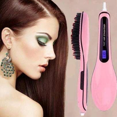 Professional Hair Straightener Comb Brush LCD Display - Pink image 2