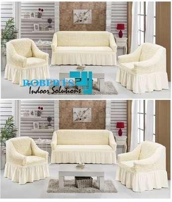 Cream white 5 sitter elastic sofa cover image 1