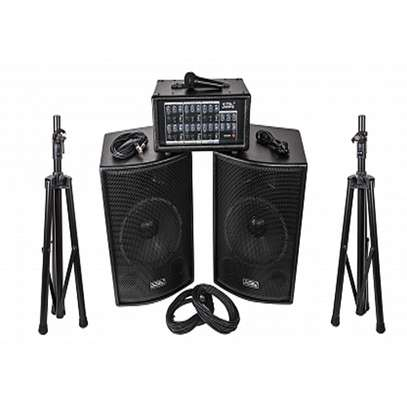 "professional speaker system complete package (2 15""speakers, 1 6 channel power mixer, 2 microphones, 2 speaker stands and cables)"