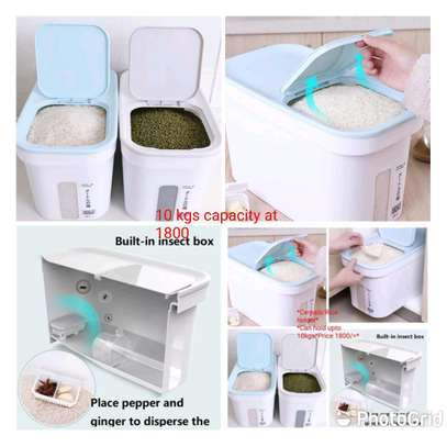 *Cereals/Rice holder* ?Can hold upto 10kgs ?Can be used to store dry goods( rice, floor, beans, spices, pets food ?Convenient, unique and stylish ?Has wheels for easy mobility *Price 1800 /= image 1