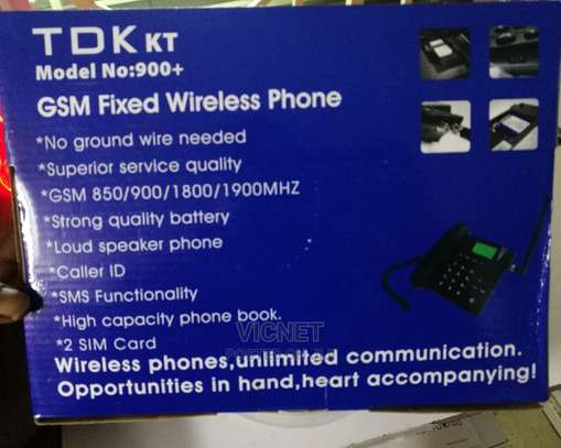Twin Simcard Fm Desktop Phone With Rechargeable Battery image 2