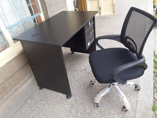 Office Desk 1Meter Black & Chair Ksh. 12,500.00 With Free Delivery image 1