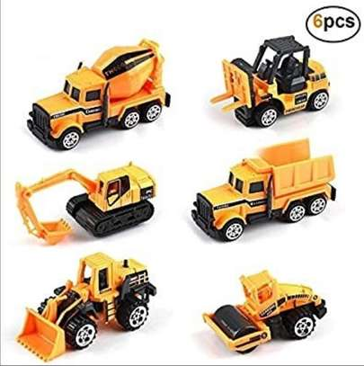 6 Pieces car machinery construction trucks toys image 1