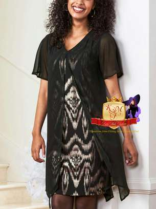 Printed Split Front Overlay Dress image 1