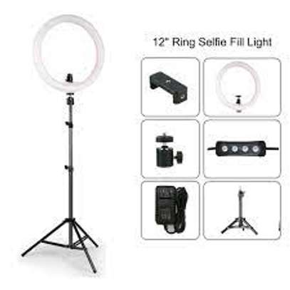 12 INCH LED Ring Light Kit with Mirror,Tripod Stand image 1