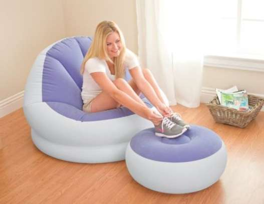 Intex inflatable seat (purple & white) with footrest