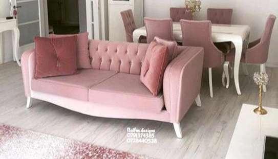Modern pink three seater sofa image 1