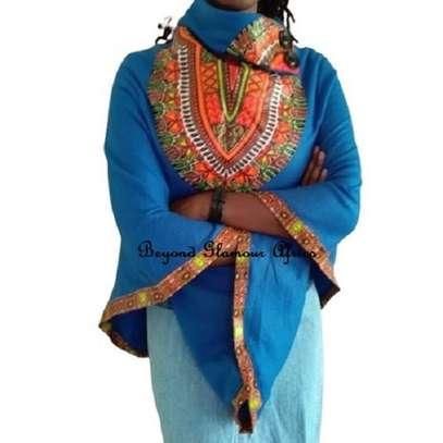 Dashiki Print Blue Poncho Super Soft Cotton