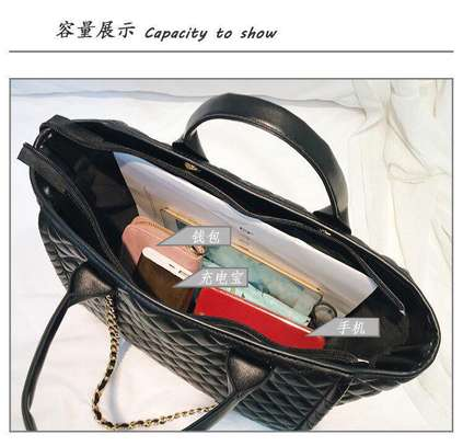 Plaid leather tote bags image 5