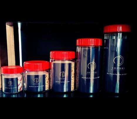 Shokki Glassware Red Platic Cap Glass Jar