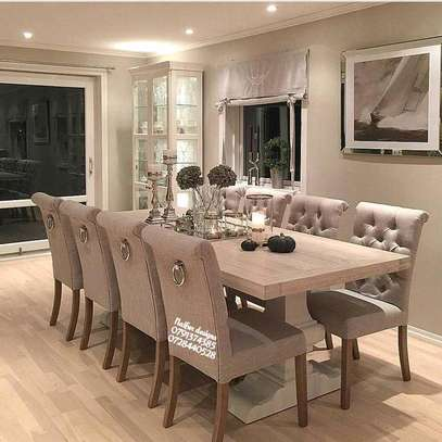 Eight seater tufted dining set image 1