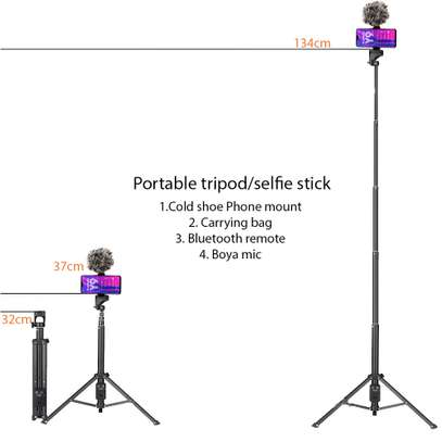 Mojo Kit with Portable Tripod/Selfie Stick + Phone Mount + BT Remote + Boya Mic + Carrying Bag