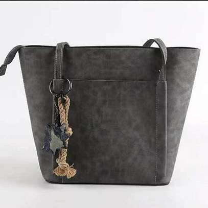 Grey and Black PU Leather image 2