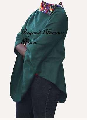 Green warm Poncho with Ankara Print on Colla image 1