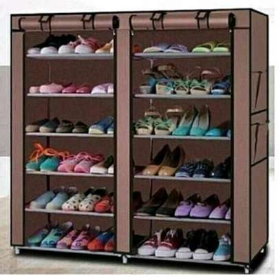 Two column shoe rack.