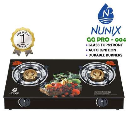 Nunix Tampered Glass Table Top Double Burner Gas Stove / Cooker image 1