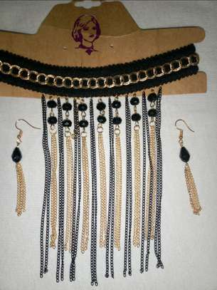 A set of chokers and earrings