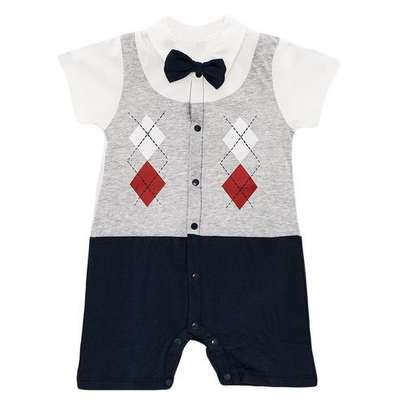 Fashion Cute Baby Toddler Bowknot checked short Sleeve Boys Romper Jumpsuit with FREE SOCKS. image 2
