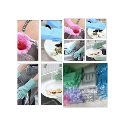 Silicone Gloves Scrubber Cleaning Gloves & Heat Resistant -A Pair {Re-usable } image 3