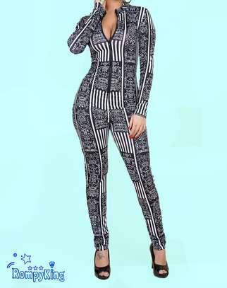 Fashion RK Black Round Neck Zip-up Stretch-African Jumpsuits image 3