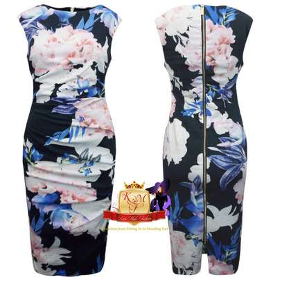 Floral Print Ruched Scuba Shift Dress Made in UK. image 1
