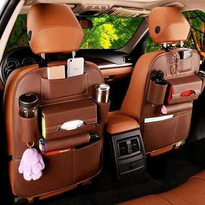 Brown leather car seat organizer image 1