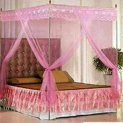 Universal Mosquito Net with Metallic Stand - Pink image 1