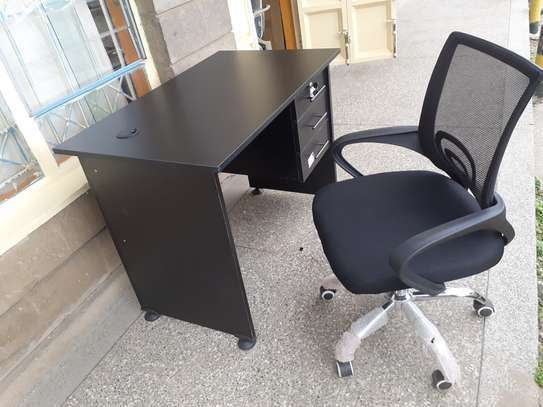 Office Desk 1Meter Black & Chair Ksh. 12,500.00 With Free Delivery image 2