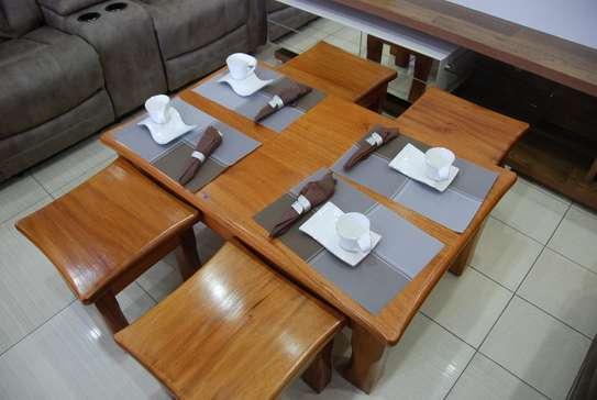 Mahogany Coffee Table with Stools image 3