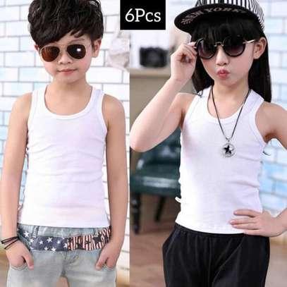 3pack white kids cotton vests image 5