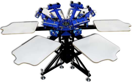 Manual Rotary 6 Color 6 Station with Micro Regestion Silk Screen Printing Machine image 1