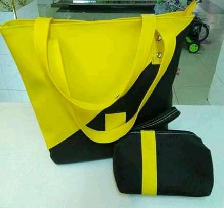 Fashion tote handbag,yellow and black image 1