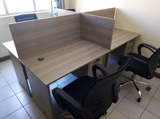 4 Way Workstation with 4 Chairs
