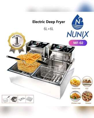 Nunix 6L+ 6L Commercial Double Stainless Steel Deep Fryer image 1