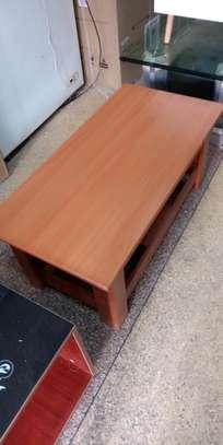 Wood frame coffee tea table with storage shelves image 1
