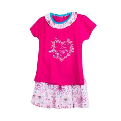 2pc Girls' Set (Top And Skirt) - Multicolored