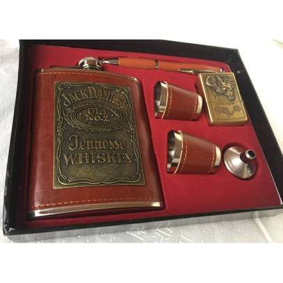 Leather Gift Set Alcohol Whisky Flask with Tot Glass and Funnel