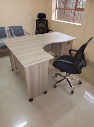 L-shaped Office Desk Plus a Chair image 1