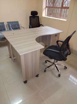 L-shaped Office Desk Plus a Chair image 1