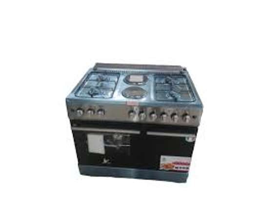 Master chef  Standing Cooker, 90cm X 60cm, 4 + 2, Electric Oven, Silver image 1