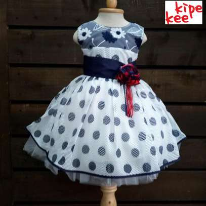 White and Blue Polka Dots Dress