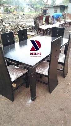 Black rectangular 6 seater dining table sets image 11